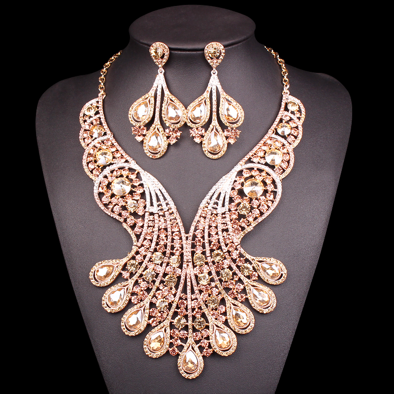 Big Crystal Bridal Jewelry Sets Wedding Costume Jewelry Indian Necklace Sets For Brides Gold Plated Jewellery Earrings For Women new purple jewelry bridal sets 3 layers bridal jewelry sets gold color big african costume jewellery set for brides women 2018
