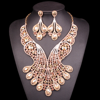 Big Crystal Bridal Jewelry Sets Wedding Costume Jewelry Indian Necklace Sets For Brides Gold Color Jewellery Earrings For Women