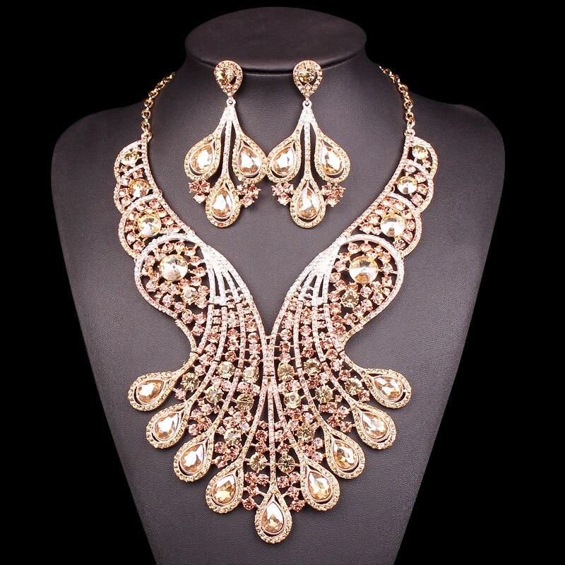 Grands ensembles de bijoux de mariée en cristal bijoux de Costume de mariage ensembles de collier indien pour les mariées couleur or bijoux boucles d'oreilles pour les femmes