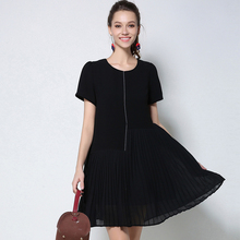 2017 Summer Women Chiffon Plus Size Pleated Dresses Women's Short Sleeve Casual Elegant Dress Lady Black O-Neck Woman Clothing
