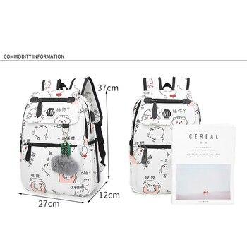 2019 USB Charging Canvas Backpack 3 Pcs/set Women School Backpacks Schoolbag For Teenagers Man Student Book Bag Boys Satchel 1