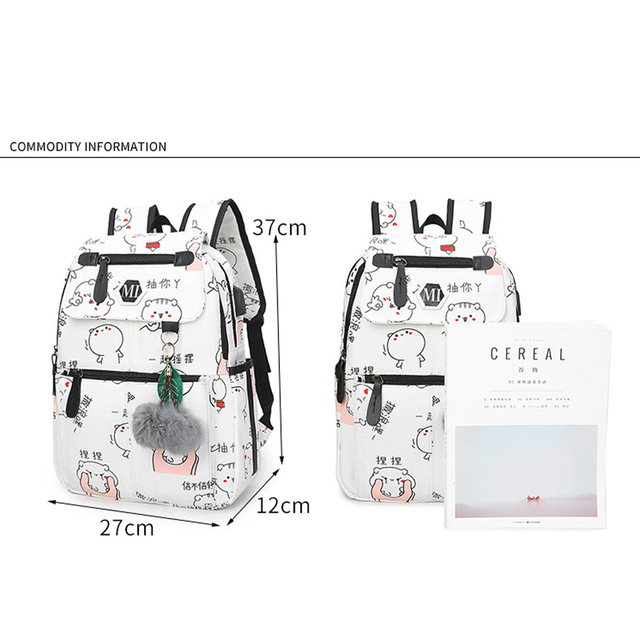 2018 USB Charging Canvas Backpack 3 Pcs/set Women School Backpacks Schoolbag For Teenagers Man Student Book Bag Boys Satchel 1