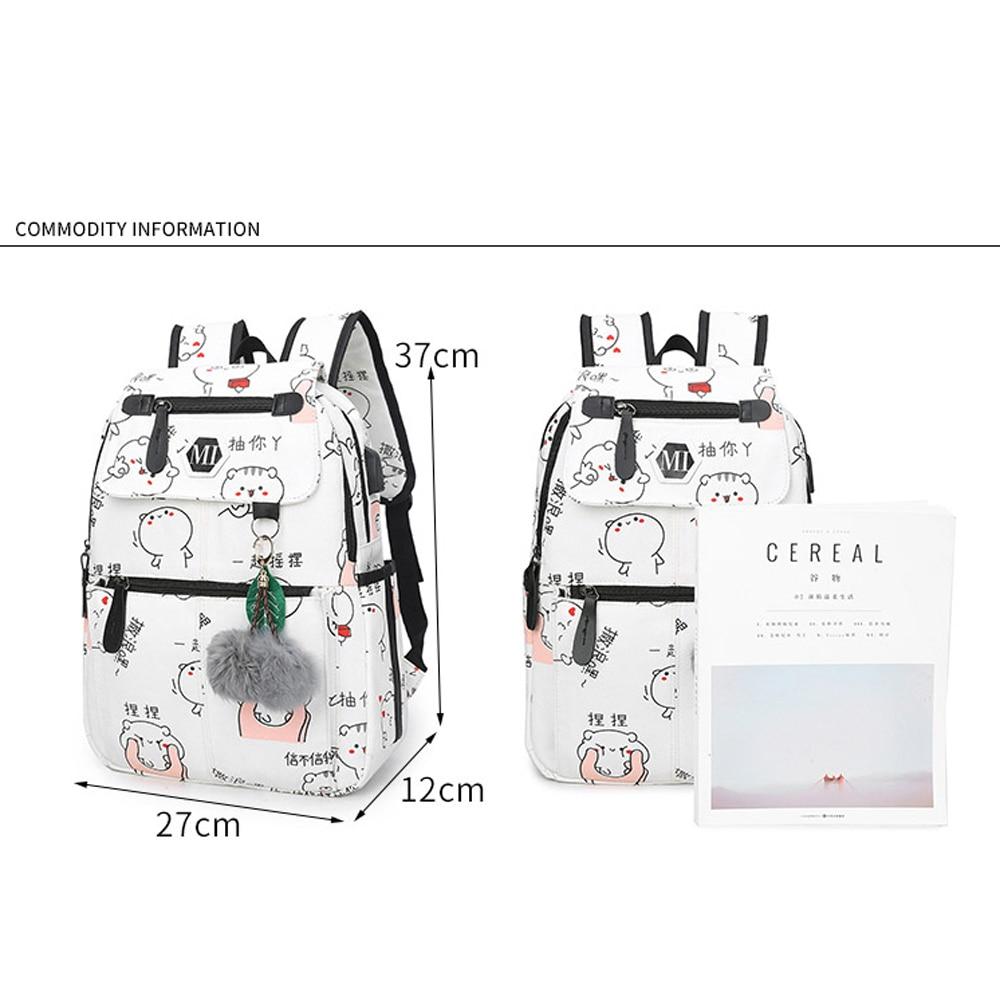 Image 2 - 2020 USB Charging Canvas Backpack 3 Pcs/set Women School Backpacks Schoolbag For Teenagers Man Student Book Bag Boys SatchelBackpacks   -