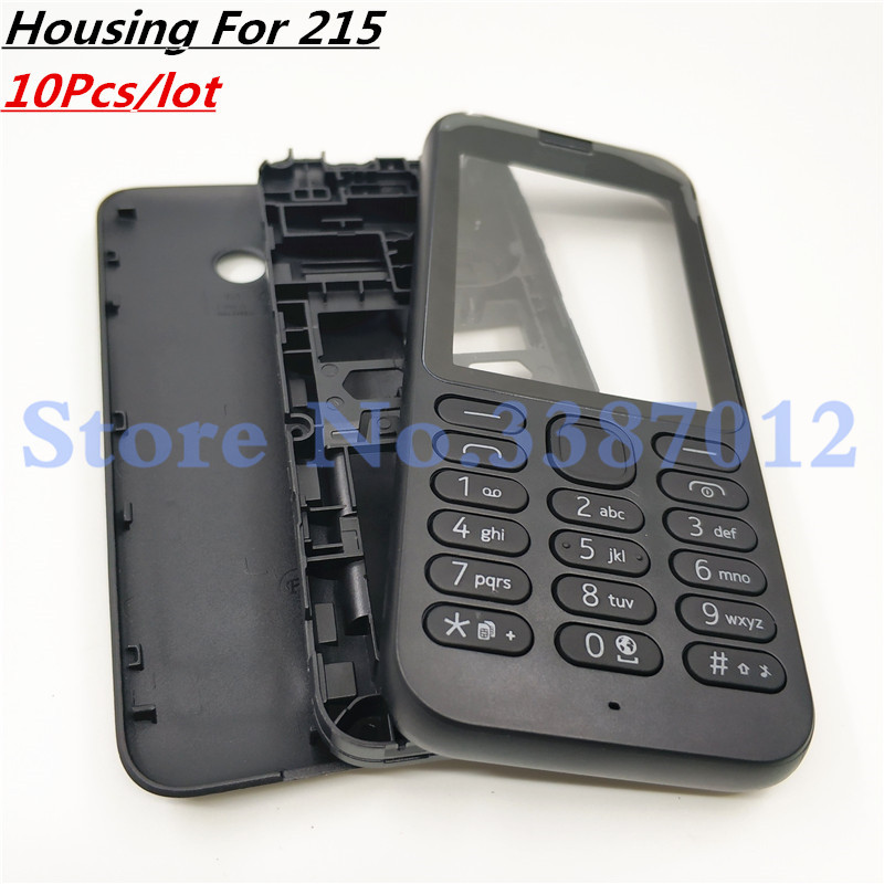 10Pcs/lot Front Middle Frame Back cover Battery Cover For <font><b>Nokia</b></font> <font><b>215</b></font> Full Housing Cover <font><b>Case</b></font> With English Keypad image