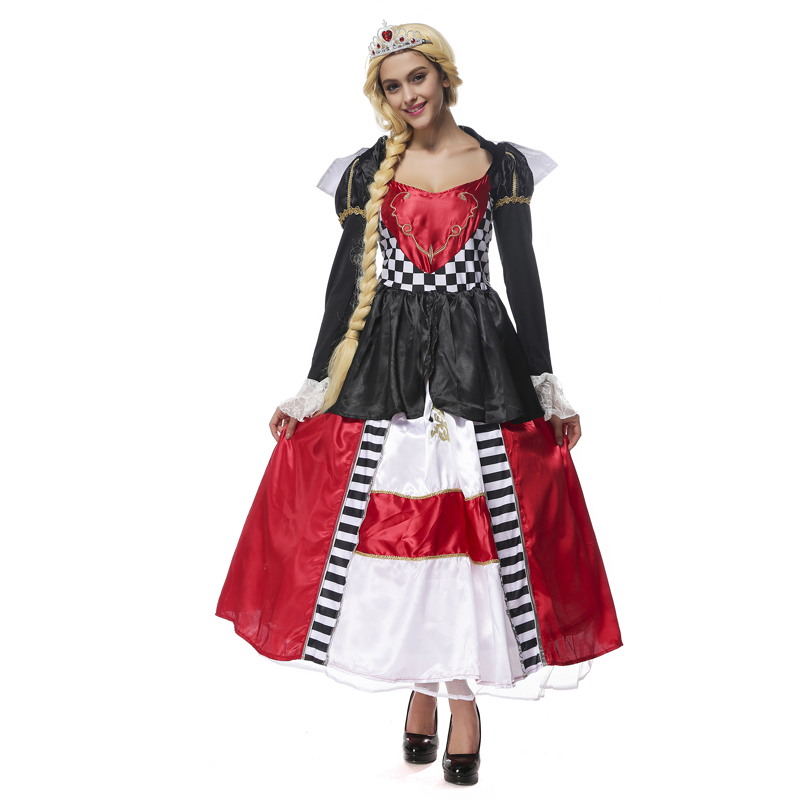 Womens Fairytale Alice In Wonderland Queen Of Hearts Adult Halloween Cosplay Costume
