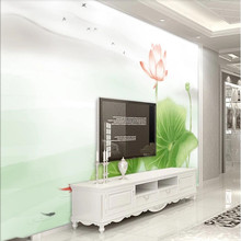 Factory direct new simple Zen hand-painted lotus pond moonlight background wall decorative painting