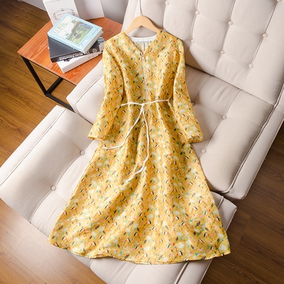 2019 new arrive silk printed dress literary retro silk with linen long dress female spring dress