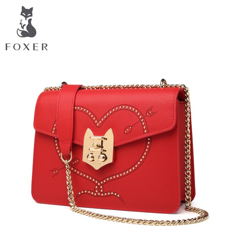 FOXER Brand Fashion Women Messenger Bag Leather Womens Flap Bag Chain Strap Female Shoulder Bag Sweet Heart Pattern Crossbody