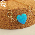 Trendy Tiny Heart natural blue healing Opal opalite stone Short Pendant Necklace Women Gold Plated Chain Gifts Bijoux  Jewelry