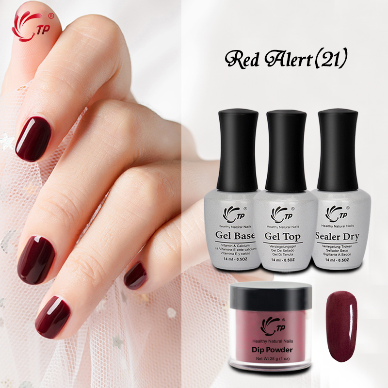 TP Nail Art Dip Powder Set Without Lamp Cure Gel Top Coat Nails Dipping Powder Glitter Natural Dry 17 Colors For beauty Salon