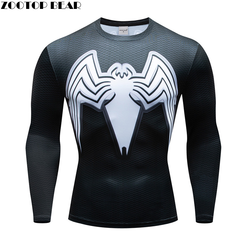 Superhero T shirts Men Compression Venom Batman T-shirt Fitness Man Long Sleeve Male Tshirt Bodybuilding Top Crossfit Cosplay