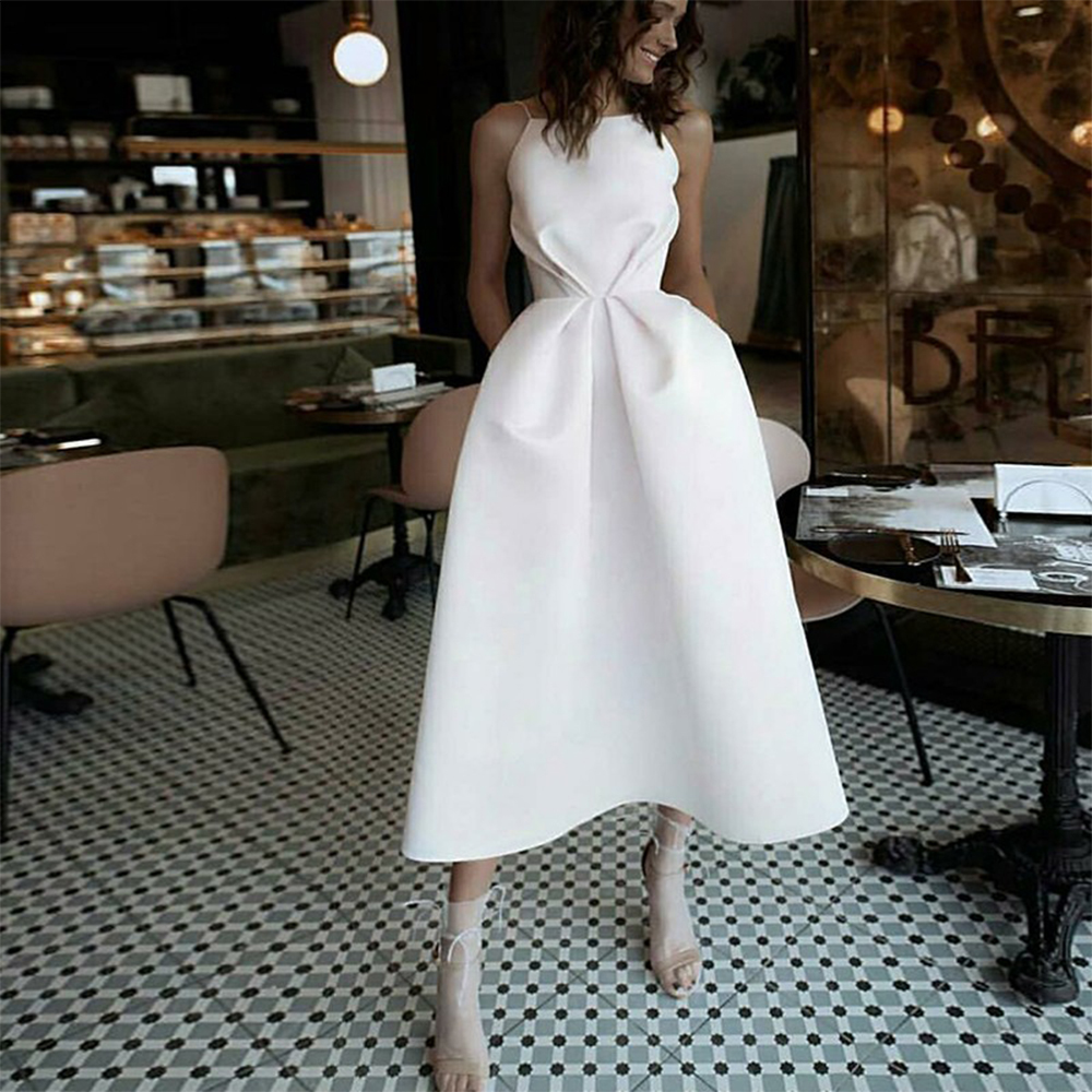 Bbonlinedress White Prom Dress 2020 With Pockets Spaghetti Strap Sexy Backless Evening Dress Tea-Length Party Dress