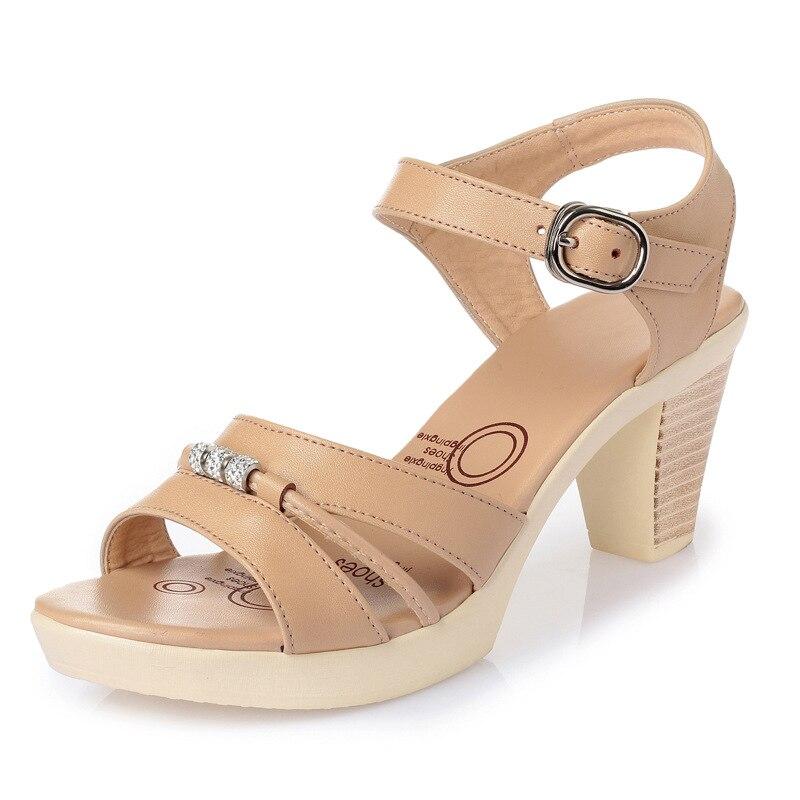 Imitación Cuero Verano negro Tacón Mujer Alto De camel brown Moda Nuevo Zapatos Real 2018 Marca Sandalias Diamante Zxryxgs Beige wqOztf4t