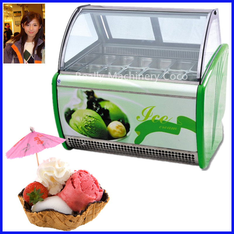 Gelato o helado duro vitrina congelador