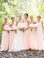 Light Pink Bridesmaid Dresses Sweet Chiffon Pleat Off the Shoulder Vestido Party Gowns Maid Vestido Full Length Beach Weddings