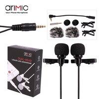 AriMic 1,5/6 м двойной головкой Lavalier нагрудные клип на микрофон для лекции или интервью для смартфонов мобильный телефон и Планшеты