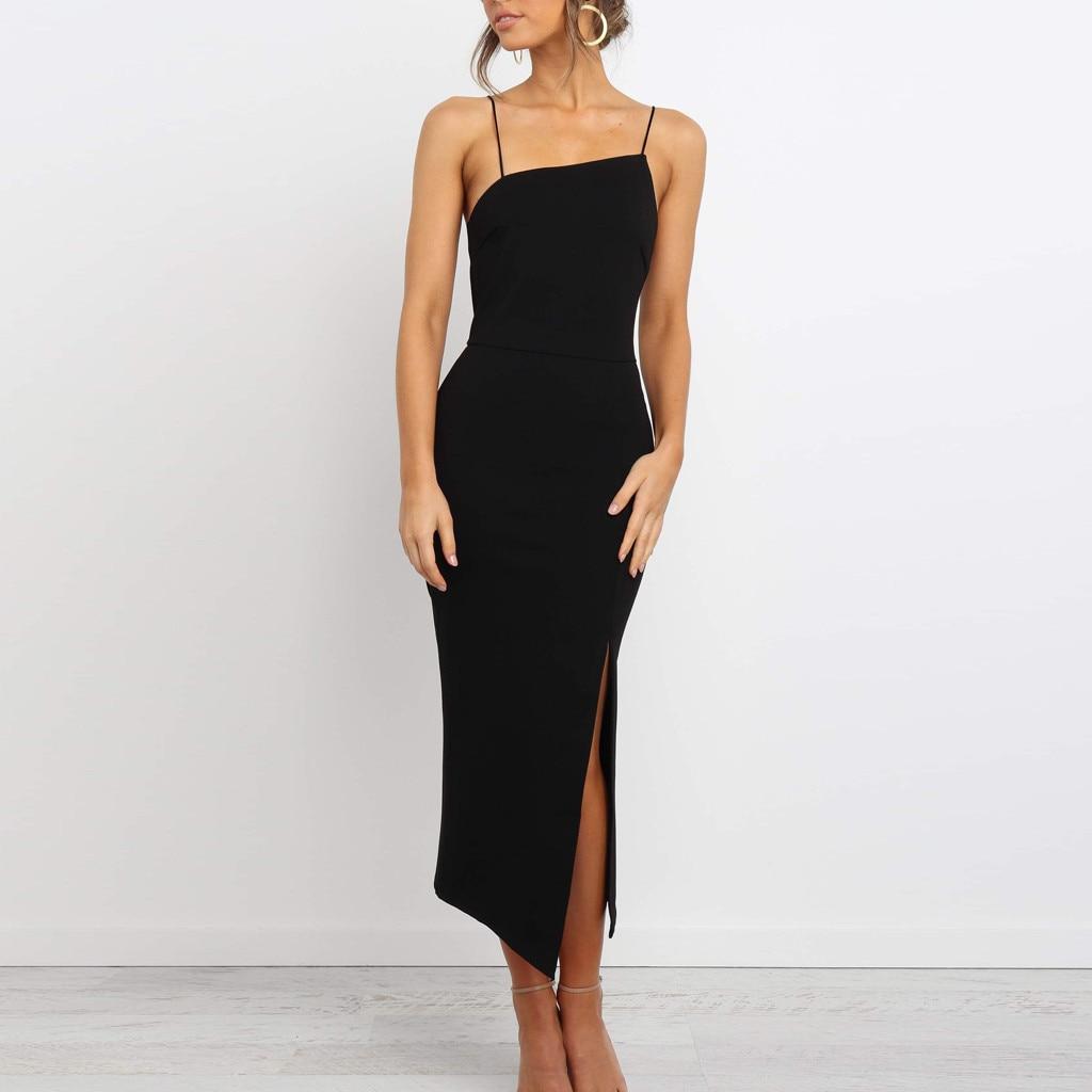 Verão elegante cinta de espaguete vestido sólido feminino alta divisão vestido de festa sem mangas vestidos bodycon sukienki ropa mujer