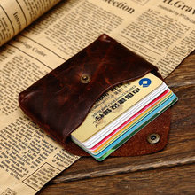 Vintage Genuine Leather Credit Card wallet Credit Card holder Old Classic small Coin purse with snap ID case holder soft leather(China)