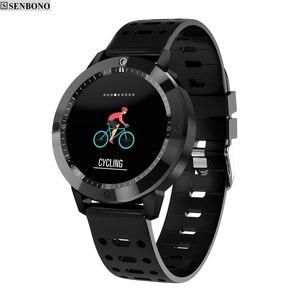 Image 1 - SENBONO CF58 Smart uhr IP67 wasserdicht Gehärtetes glas Aktivität Fitness tracker Heart rate monitor Sport Männer frauen smartwatch