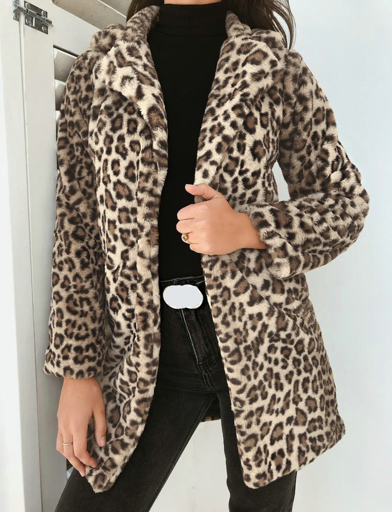 Leopard furry faux fur women coats plus size Side pockets warm thick outwear casual 2018 Autumn winter luxury coat lady