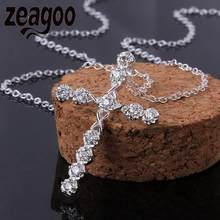 2018 Fashion Sweater choker Necklace Sweater Chain Necklace Crystal Fashion Women\'s Jewelry Plated Cross Pendant Shinny Silver(China)