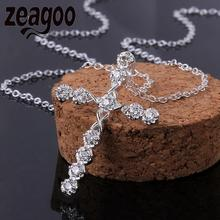 Fashion Sweater choker Necklace  Chain Crystal Women\s Jewelry Plated Cross Pendant Shinny Silver