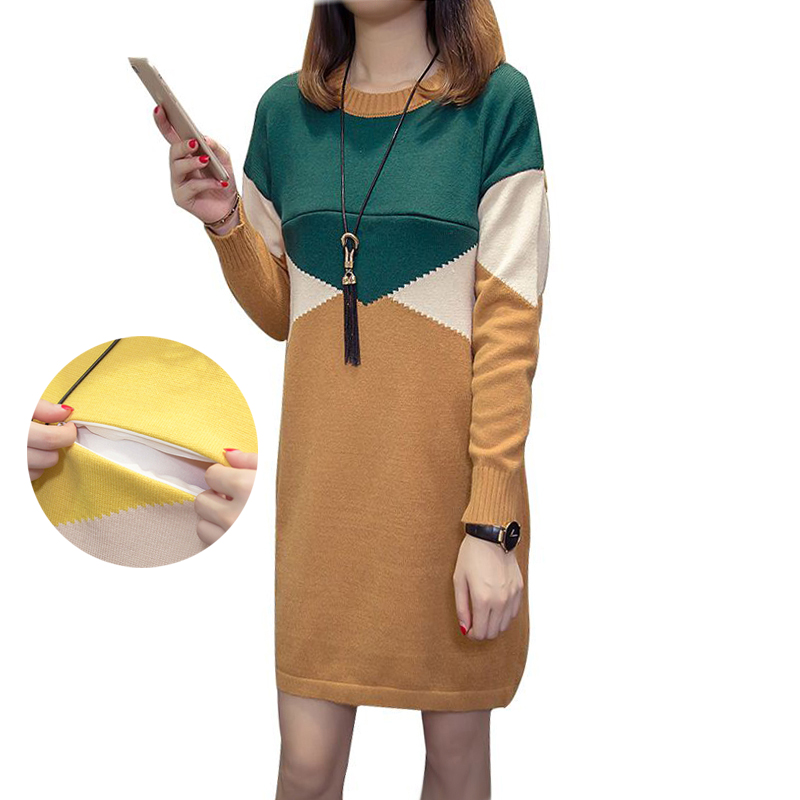 Maternity Nursing Dress Knitted Breastfeeding Sweater Dresses Color Contrast Long Pullovers for Pregnant Women Pregnancy Clothes zbaiyh maternity dress autumn winter cotton knitted oneck long sleeve sweater dress for pregnant women solid color elegant dress