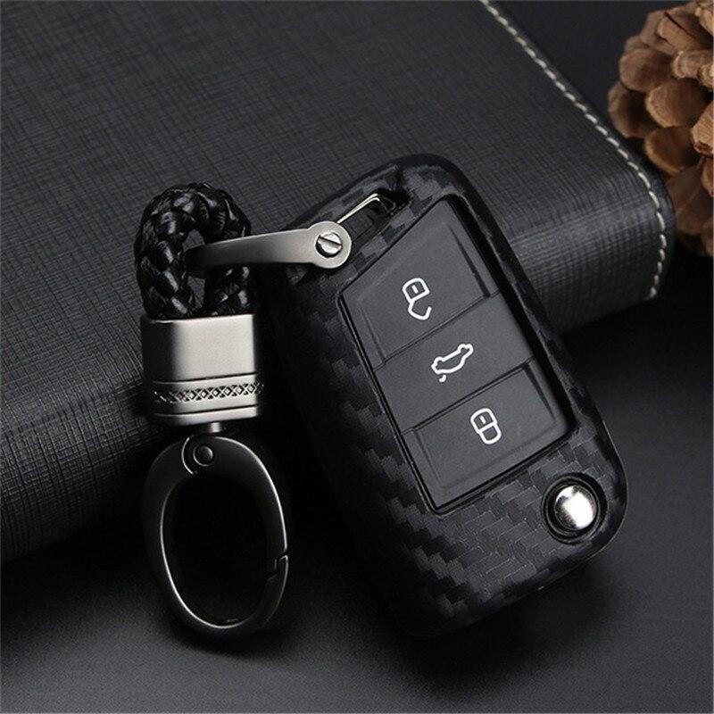 Peacekey carbon Car Key Case Cover For VW Golf 7 GTI MK7 Octavi A7 Seat Leon Ibiza Flip Remote Key Wallet Keychain Free Shipping