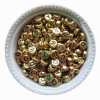 3600PCS/Lot 4*7MM Gold Color Acrylic Plastic Coin Shape A-Z Letter Beads Flat Round Shape Kint Jewelry Bracelet Spacer Beads