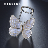 HIBRIDE New Hot Sale Sparkling Butterfly Rings For Women Gold Color Open Adjustable Ring Luxury Jewelry R 249