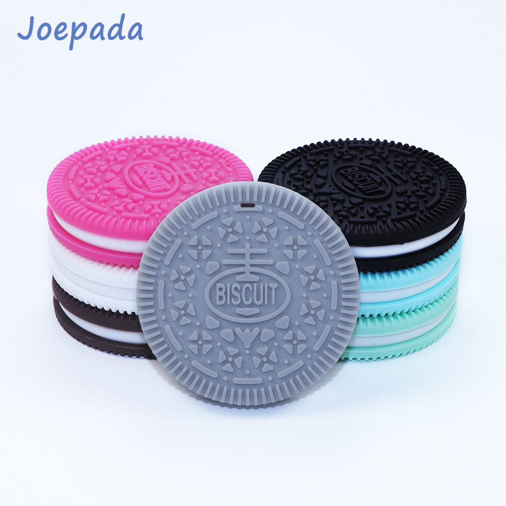Joepada 1Pc Biscuits Baby Teether Chew Toy BPA Free Silicone Cookie Teethers For Teeth DIY Baby Teething Necklace Silicone Beads
