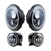 For Jeep Wrangler 7 LED Headlight With White Halo Ring 4 Inch Angel Eyes LED Fog
