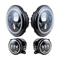 For Jeep Wrangler 7'' LED Headlight with White Halo Ring + 4 Inch Angel eyes LED Fog lights for Truck Hummer LandRover