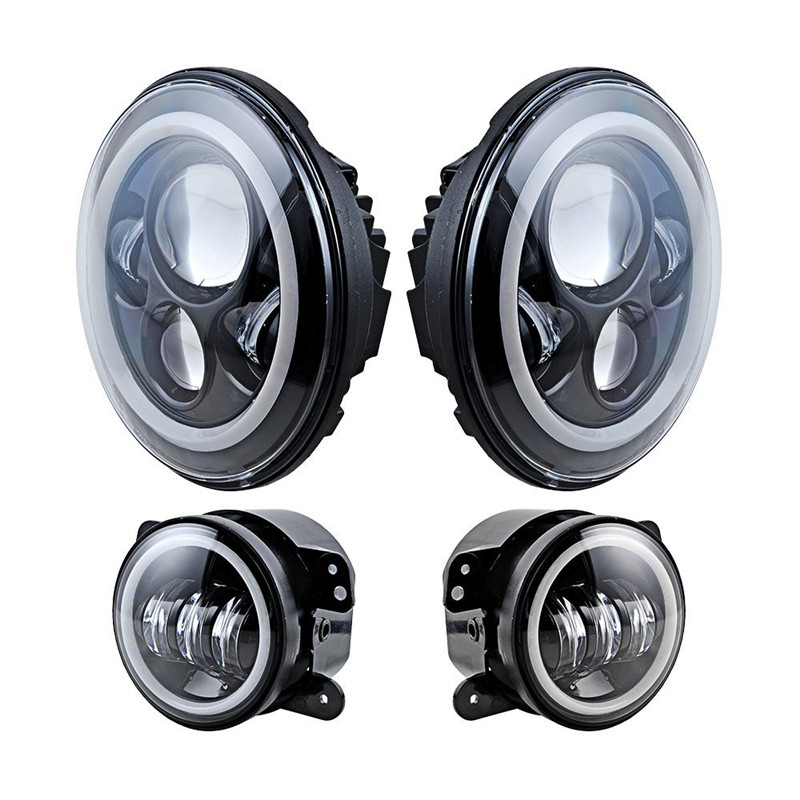For Jeep Wrangler 7'' LED Headlight with White Halo Ring + 4 Inch Angel eyes LED Fog lights for Truck Hummer LandRover