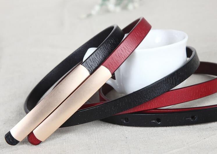 1.1cm Women Genuine Cowskin Leather Belt Slide Buckle Waistband Strap For Skirt
