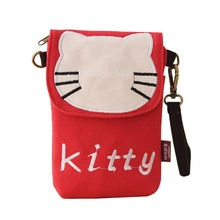 Cute Cartoon Design Mini Mobile Phone Bag Hello Kitty Shoulder Bag With Zipper and 2 Straps(Short and Long) for Ladies Girls(China (Mainland))