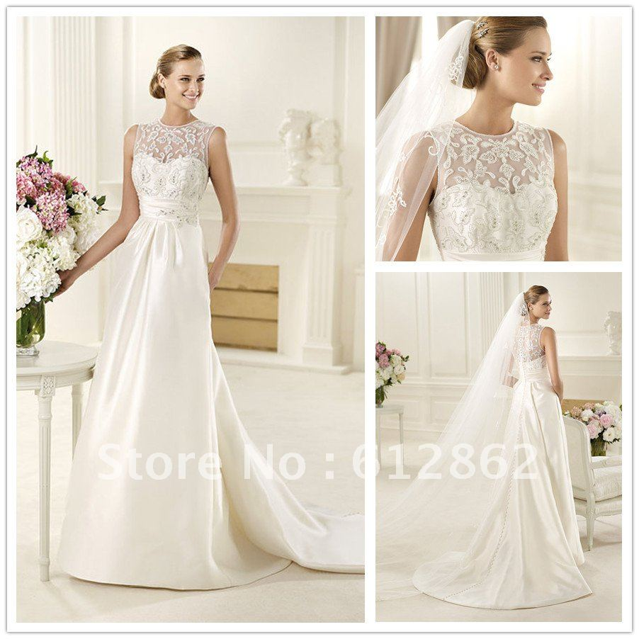 Stunning Robe De Mariage Sleeveless Satin Long Train Beaded Irish ...