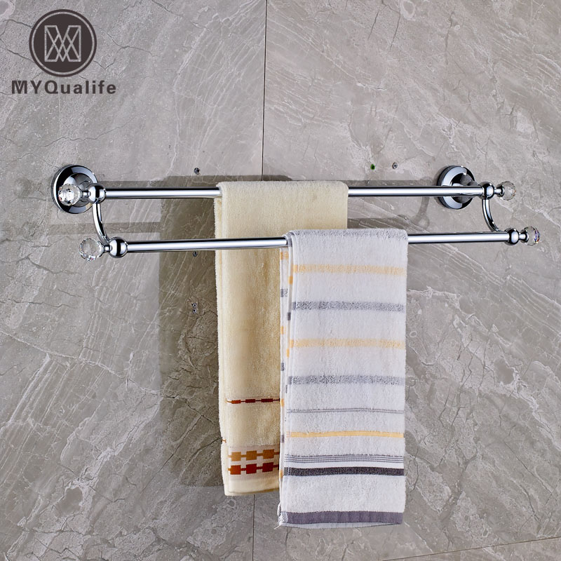 Chrome Finish 60cm Long Double Towel Bar Bathroom Wall Mounted Bath Towel Rack okaros bathroom double towel bar 60cm towel rack towel holder solid brass golden chrome plating bathroom accessories