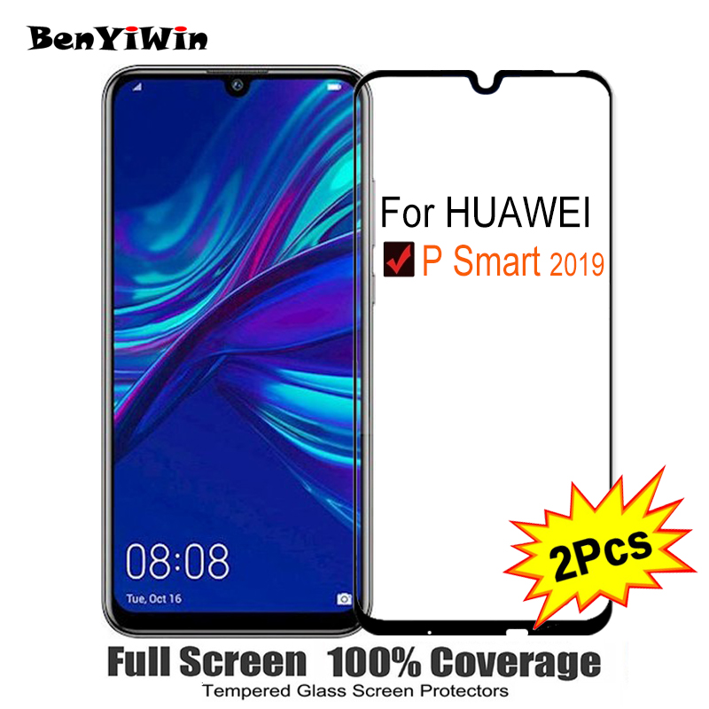 2PCS Full Cover Screen Protector Tempered Glass For Huawei P Smart 2019 6.21