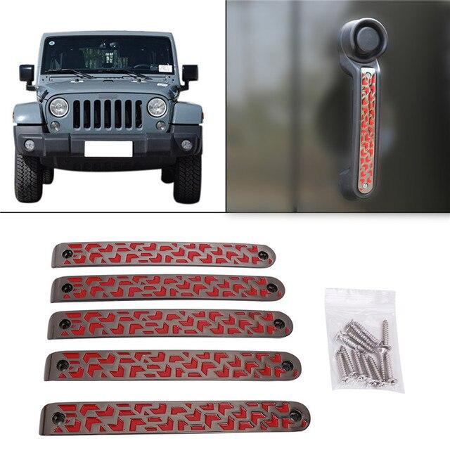 5pcs Red Door Aluminum Grab Handle Cover For Jeep Wrangler Jk 2 4 2007 2016 Car Grap