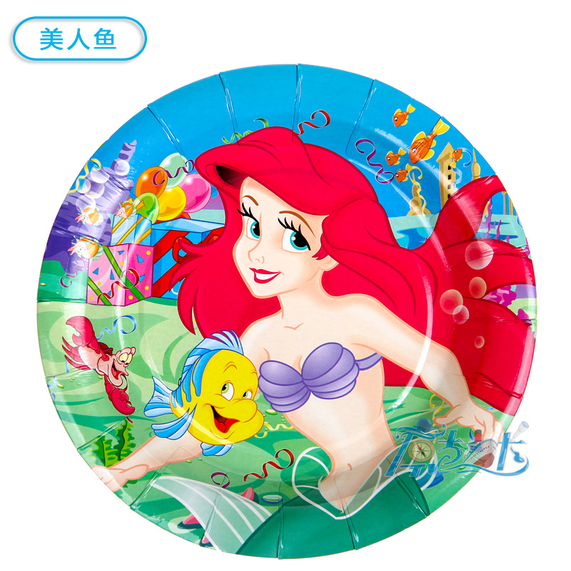 6pcs 9inch diameter 23cm Little mermaid theme paper plate dish for kids birthday party supplies in Disposable Party Tableware from Home Garden
