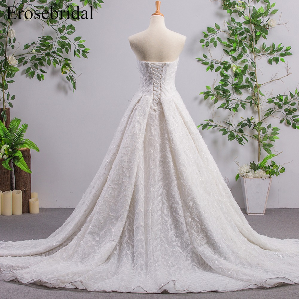 A Line Sleeveless Wedding Dress with Feather Lace Up Back Sweetheart Bridal Gown with Long Train vestido de noiva ES168-in Wedding Dresses from ...