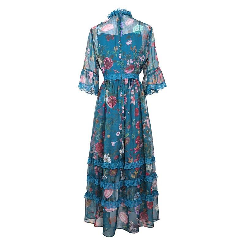 SEQINYY Midi Dress 2019 Zomer Nieuwe Fashion Design Half Flare Mouwen Bloemen Gedrukt Losse A lijn Casual Blue Chiffon Jurk-in Jurken van Dames Kleding op  Groep 2