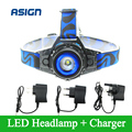 Headllight Cree Q5 Waterproof LED Headlamp 1000lm Built-in Lithium Battery Rechargeable Head lamps 3 Modes Zoomable Car Charger