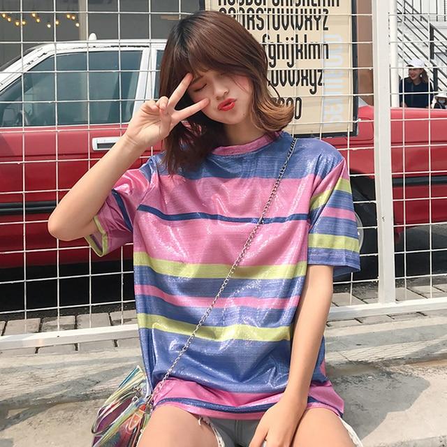 e14be2cde6a7 Womens T Shirt Tops 2018 Summer Clothing Korean Ulzzang Rainbow Striped  Reflective Short Sleeve T-