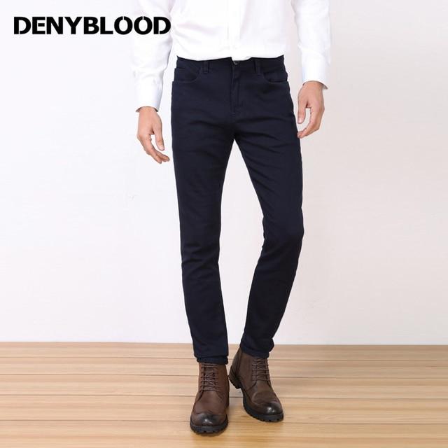8aaa0f54 US $49.95 |Denyblood Jeans 2017 New Arrival Męskie Chinos Spodnie Stretch  Slim Prosto Granatowe Spodnie Wysokiej Jakości Spodnie Na Co Dzień 738229  ...