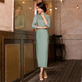 Modern Revised Chinese Long Cheongsam Dress Cotton Linen Stand Collar Three Quarter Sleeve Thigh Split Long Qipao 1117
