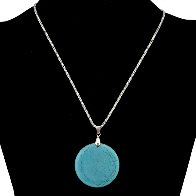 Tribal Jewelry Tibetan Silver Snake Chain Blue Big Round Blue Stone Pendant  Necklace Ring Sets For Women Girls Party Jewelry e07d697531c