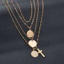 1 set of retro cross ornaments simple multi-layered wild clavicle chain personality female jewelry