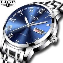 LIGE luksusowa marka mężczyźni ze stali nierdzewnej złoty zegarek męski zegar kwarcowy człowiek sport wodoodporne zegarki relogio masculino + Box